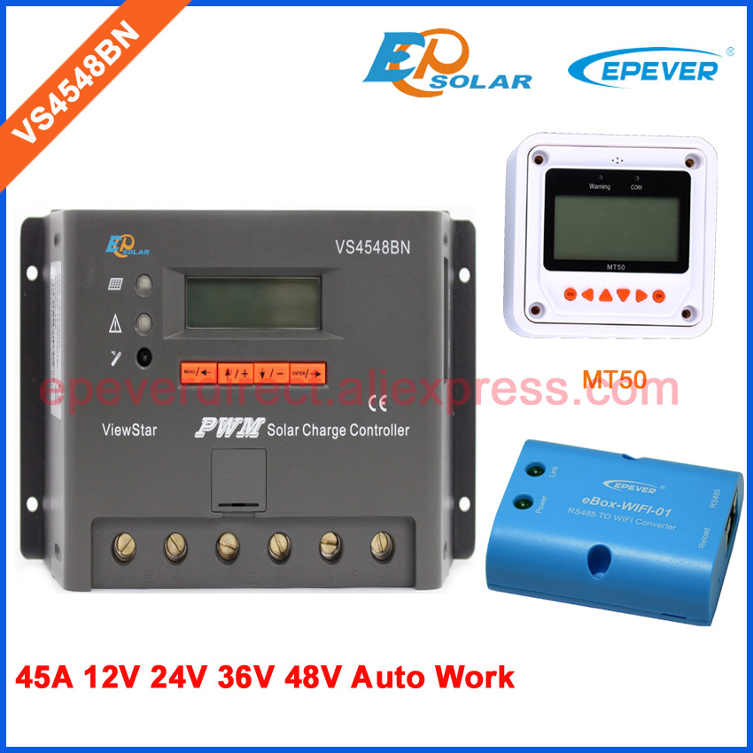 36v PWM solar panel 12v 24v 48v charge controller VS4548BN PWM New series wifi BOX MT50 remote meter 45A 20a 12 24v solar regulator with remote meter for duo battery charging