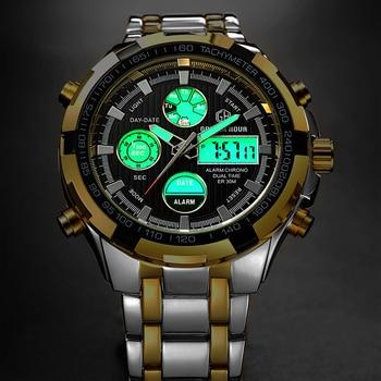 GOLDEN HOUR Men's Luxury Dual Display Analog & Digital Waterproof Chronograph Date Quartz Watches 5