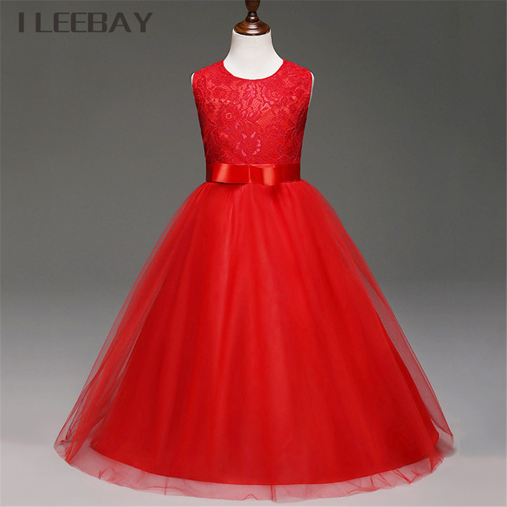 Bow Baby Girls Long Wedding Dress Birthday Party Dresses for Children Flower Girl Lace Princess Costume Vestidos Kids Clothes christmas holiday flower girl dress butterfly princess children dresses for party wedding birthday gift