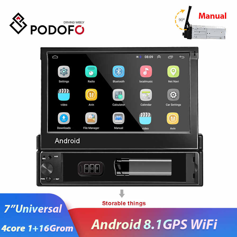 "Podofo 1din 7"" Android 8.1 Touch Screen Car Radio Multimedia Player GPS Nav Wifi Bluetooth MP5 Audio stereo for Universal"