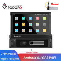 Podofo 1din 7 Android 8.1 Touch Screen Car Radio Multimedia Player GPS Nav Wifi Bluetooth MP5 Audio stereo for Universal