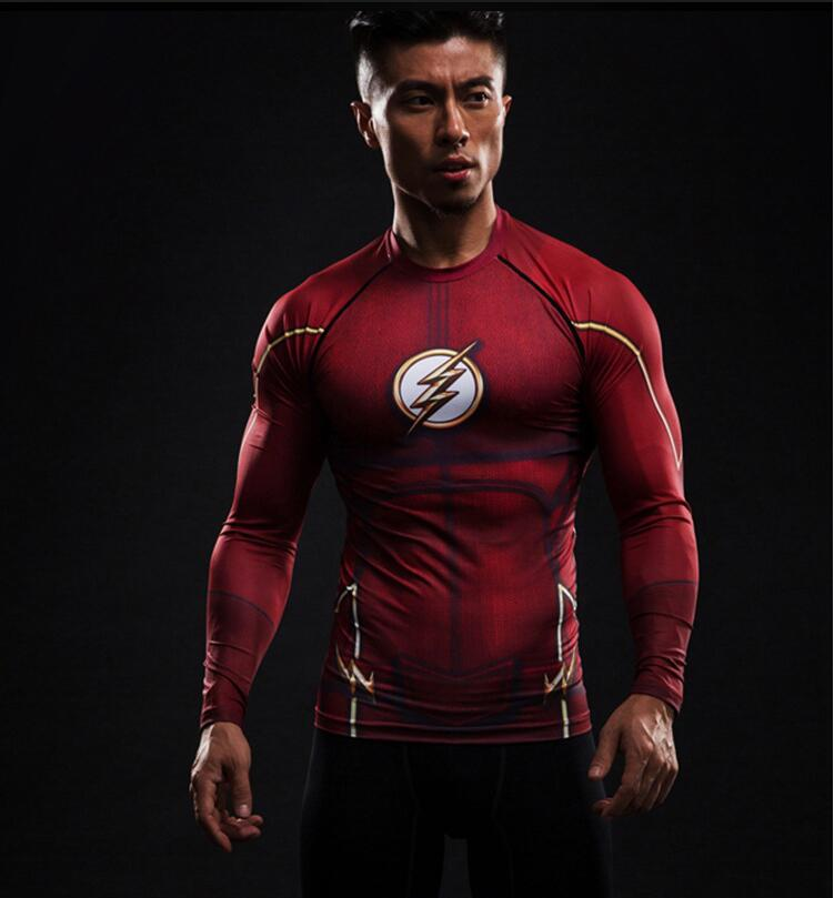 Compression Shirt Flash 3D Printed T-shirts Men Raglan Long Sleeve Superman Flash Cosplay Costume Fitness Clothing Tops Male