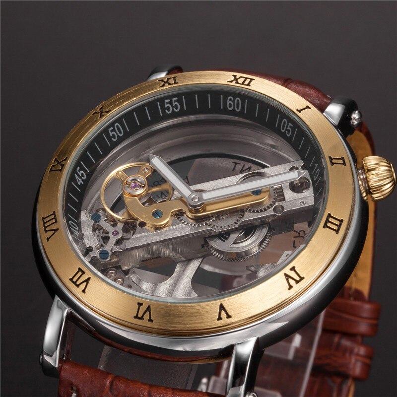 Montres mécaniques automatiques hommes montres-bracelets Design spécial noir/marron Transparent Cool mâle horloge heure relogios masculino cadeaux - 4