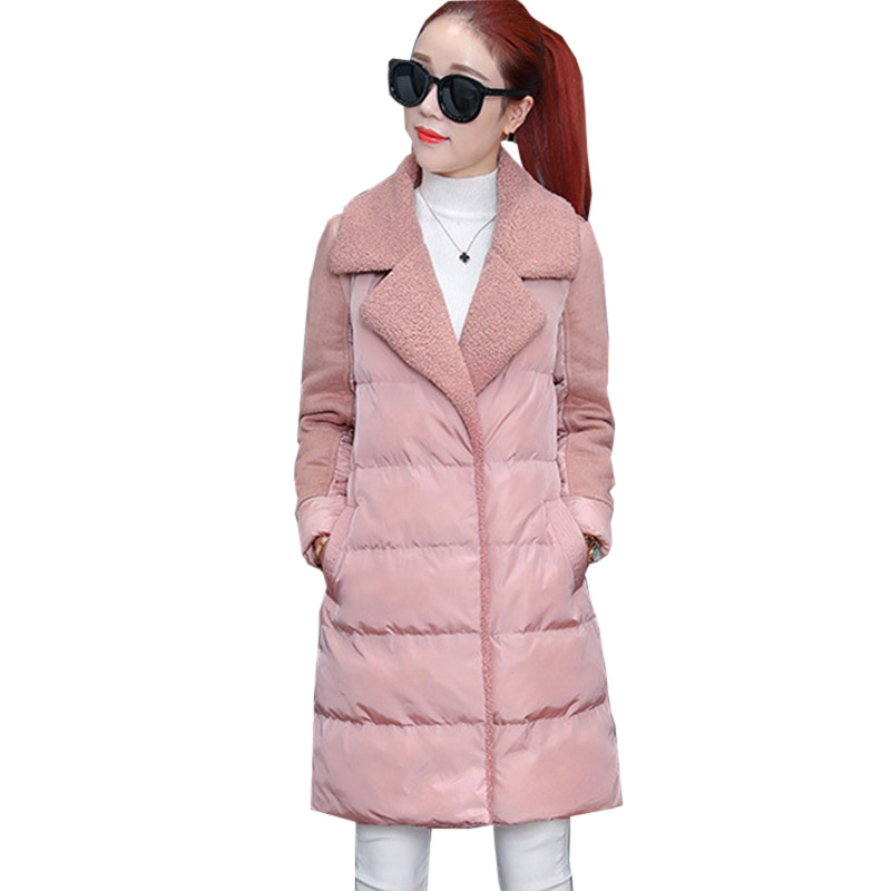 Winter Cotton Lambs Wool Jacket Women Slim Coat Chaquetas Mujer Pink Parkas Thick Wadded Long Jacket Outwear Coats RE0167 women s cotton padded long jacket winter leisure wild long cashmere wool liner coat casual pocket zipepr parkas mujer jy 805