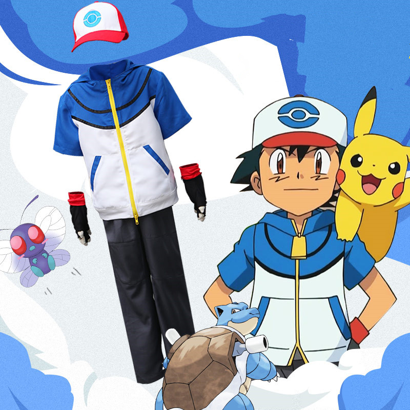 Ash Ketchum Anime Japanese Cos Pokemon Pocket Monster Daily clothes Woman Man Cosplay Halloween Party Cosplay