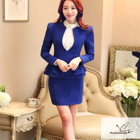 2018 Work Wear Fashion Women clothes Short Sleeve blazer with skirt office ladies formal OL skirt plus size jacket set