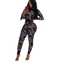 Tracksuit for women fashion 2019 printed long sleeve sports suit 2 piece set women nightclub clothing plus size tracksuits0