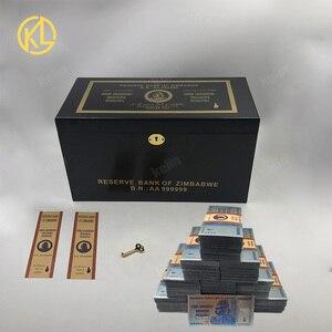 Image 1 - Hot Bán 1000 Mảnh Đầy Màu Sắc Sivler/Gold Foil Tiền Giấy Zimbabwe Bạc Tiền Giấy Với Giấy Hộp Gỗ Cho Mã Tiền giả