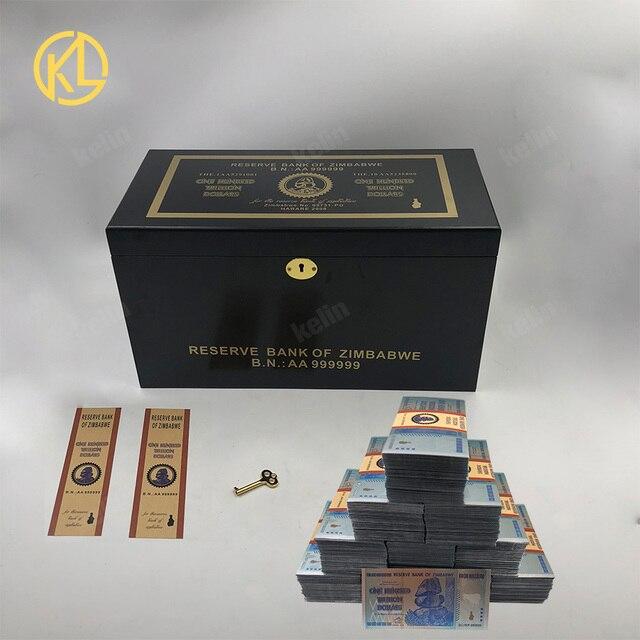 Hot Bán 1000 Mảnh Đầy Màu Sắc Sivler/Gold Foil Tiền Giấy Zimbabwe Bạc Tiền Giấy Với Giấy Hộp Gỗ Cho Mã Tiền giả