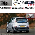 3 in1 Special Rear View Camera + Wireless Receiver + Mirror Monitor Back Up Parking System For Citroen C3 Picasso