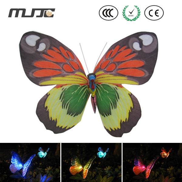 Merveilleux MJJC 2PCS/bag Solar Pin Lamp Fiber Butterfly Decoration Light Energy Saving Plastic  Garden