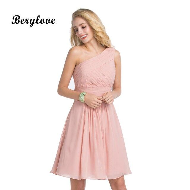 3069 35 De Descuentoaliexpresscom Comprar Berylove Lindo Corto Blush Rosa Vestidos De Fiesta 2018 Un Hombro Mini Gasa Homecoming Vestidos