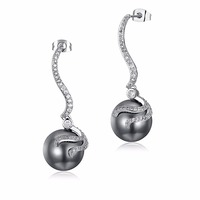 Elegant Beauty Long Earrings Gray Simulated Pearl Sparkling CZ Bridal Party Wedding Jewelry 14mm Water Drop Earrings for Woman