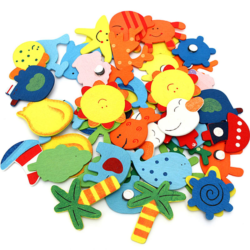 12 Pcs/Set Children Toys Fridge Magnet Wooden Cartoon Animals Kids Educational Learning Toy Gifts 88 AN88