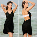 Sexy New Solid Swimsuit Cover Ups Women Summer Beach Dress Bikini Wrap Cross Beach Wear Sarong Pareo swimsuit saida de praia
