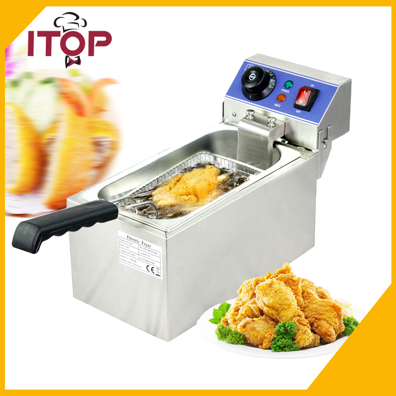 ITOP 6L 2000W Countertop Electric Stainless Steel Commercial Deep Fryer French Fries Single Tank Oil Boiler 220v 3 2l lcd intelligent electric deep fryer oil free smokeless french fries machine for home using electric air fryer