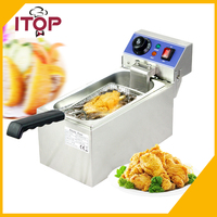 ITOP 6L 2000W Countertop Electric Stainless Steel Commercial Deep Fryer French Fries Single Tank Oil Boiler