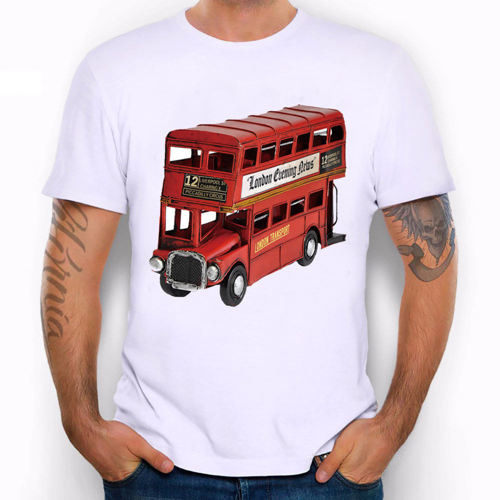 Double Decker London Red Bus Drive City Must Funny Joke Men T Shirt Tee