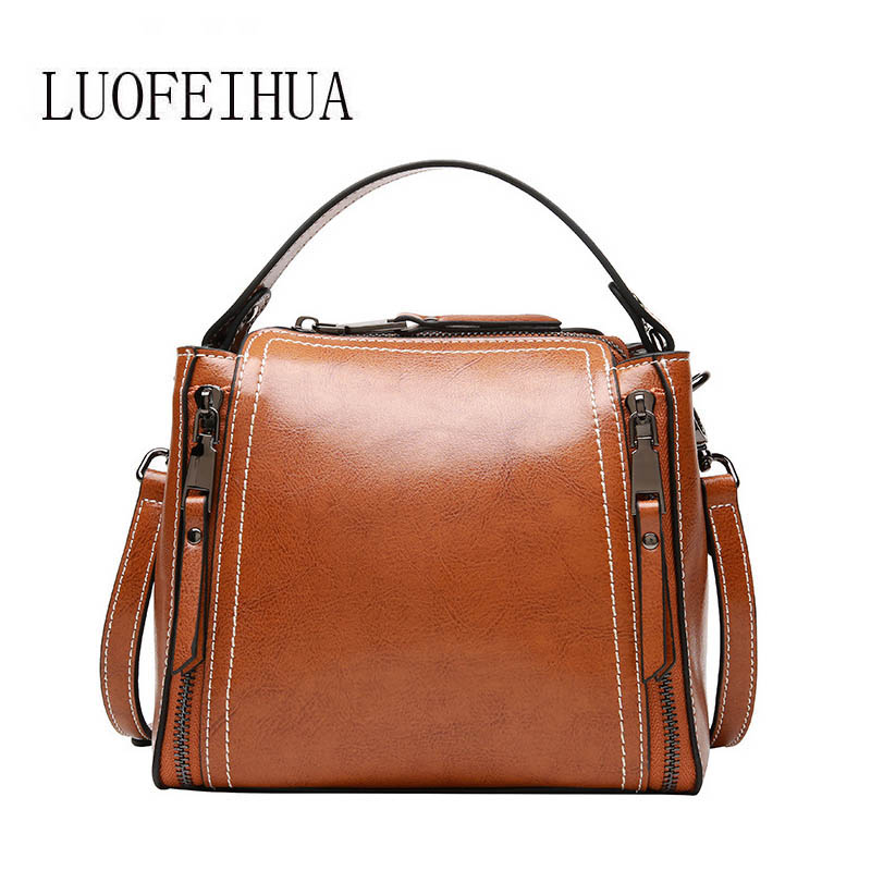 LUOFEIHUA  2018 new womens bag First layer cowhide lady bag Shoulder Messenger Bag Motorcycle bagLUOFEIHUA  2018 new womens bag First layer cowhide lady bag Shoulder Messenger Bag Motorcycle bag