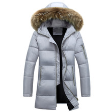 HZF Men's Winter Jackets Thick Hooded Fur Collar Parka Fashion Padded Male Clothing Plus Size Couple coat S-3XL Long Outwear