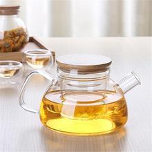 Heat Resistant Glass Teapot Bamboo Lid Filter Liner Kettle Stylish Flower