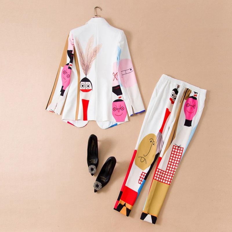 Women Work Wear Suit Office Wear Women's Business Coat & Pant Set Personality Print Long-Sleeved 2 Pcs / Set Drop Shipping