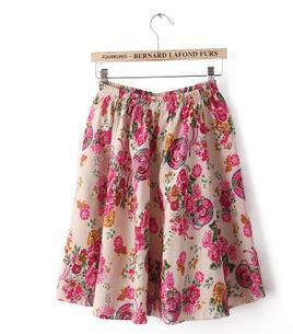Vintage Women Skirt Summer High Elastic Waist Floral Printed Beach Knee-length Bohemia Cotton Short Ball Gown - Fashion World's store
