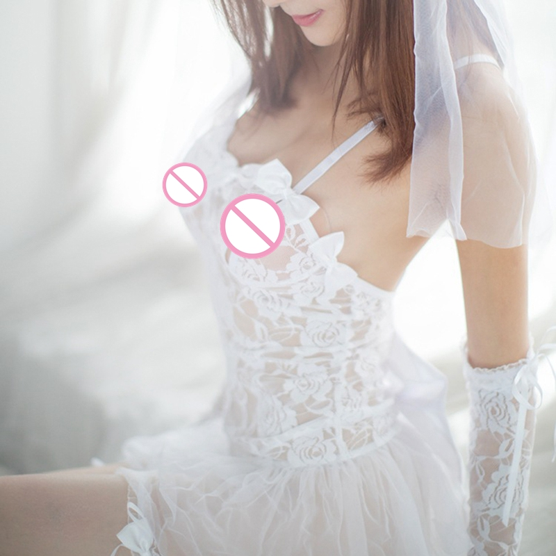 1PC Sexy Lingerie Hot White Bride Wedding Dress Uniforms Perspective Lace Gauze Outfit Erotic Lingerie  Costumes