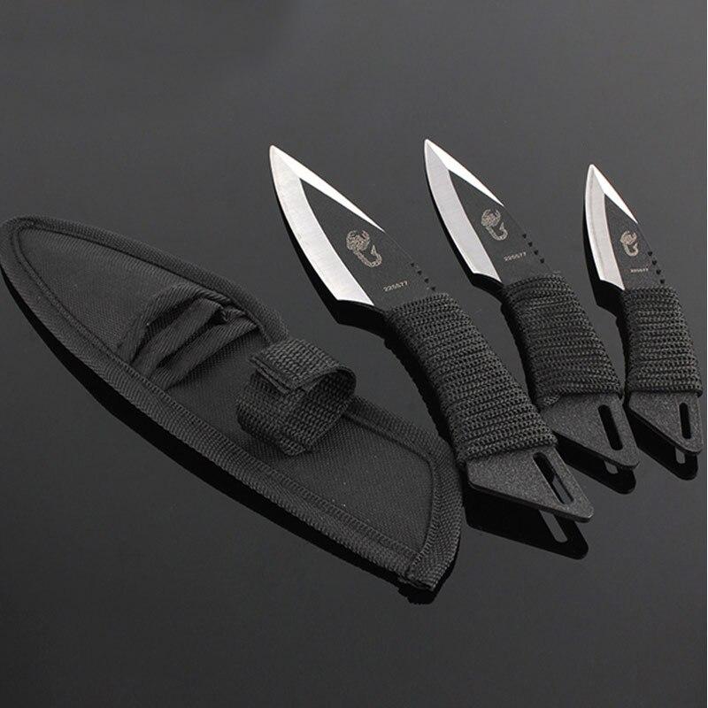 Heißer 3 stücke werfen messer Taktische Feste Klinge Tasche Messer Überleben Im Freien Jagd Camping Messer Messer werkzeuge mit Mantel karambit