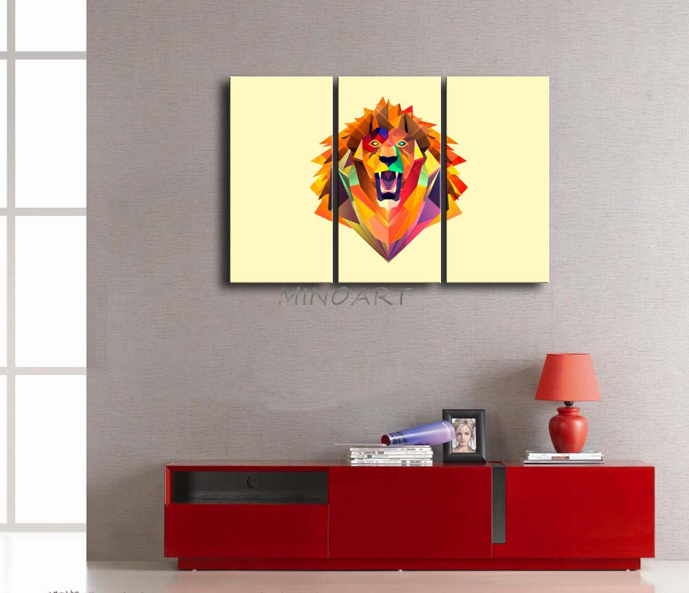 3 Piece Yellow Orange Wall Art Painting Abstract Facets Colors Like ...