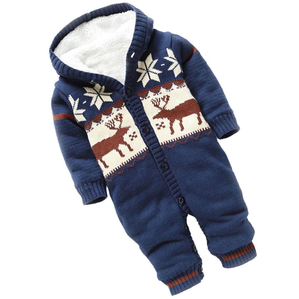 ABWE Best Sale Baby Rompers Winter Thick Climbing Clothes Newborn Boys Girls Warm Romper Knitted Sweater Christmas Deer Hooded abwe 4x a