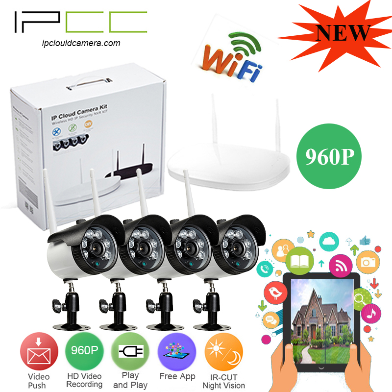 IPCC 960P 2CH 4CH Wireless NVR CCTV System 960P IP Camera WIFI Waterproof IR Night Vison Home Security Camera Surveillance Kits