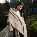 iDouillet Soft Decorative 100% Cotton Chunky Cable Knit Throw Blanket for Bed Sofa Couch Airplane Travel Beach 130x160cm Camel