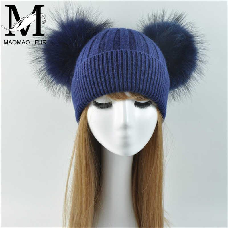 Двойной натуральный мех енота помпон шляпа Для женщин зимние шапки вязаные  шерстяные Шапки Skullies шапочки для 3d53ef896f176