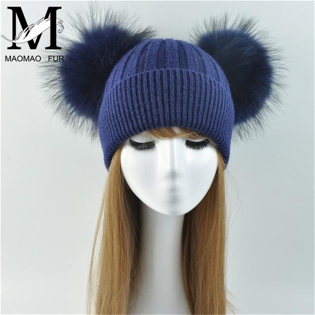 Doble Real de piel de mapache pompón sombrero de las mujeres de invierno de  punto de lana sombreros a387b72357f