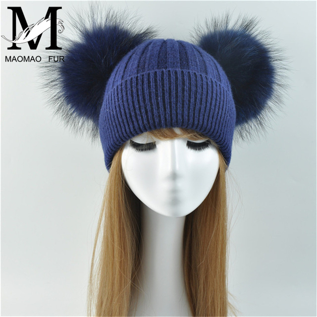 a8fe95e6a40 Double Real Raccoon Fur Pompom Hat Women Winter Caps Knitted Wool Hats  Skullies Beanies Girls Female