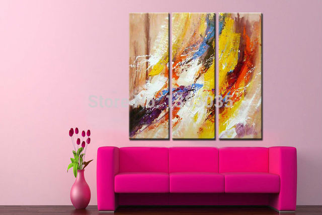 Hand Painted 3 Panel Modern Abstract Canvas Painting Set Oil Wall ...
