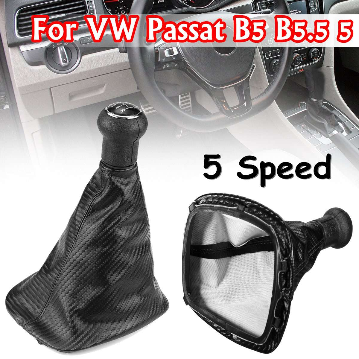 Car 5 Speed Carbon Fiber Gear Shift Knob Gaitor Boot For VW Passat B5 B5.5 Bora Golf aluminum alloy air conditioning heat control switch knob ac knob for volkswagen vw lavida passat b5 bora golf 4 car styling