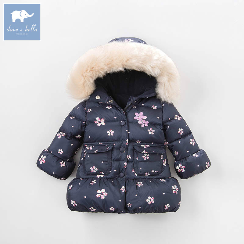 DBJ7429 dave bella winter baby girls down jacket children white duck down padding coat kids hooded