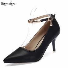 New Large Sizes Spring Pumps Women Fashion 7CM High Heels Black Red Party Shoes Woman Genuine Leather XZL-B0066