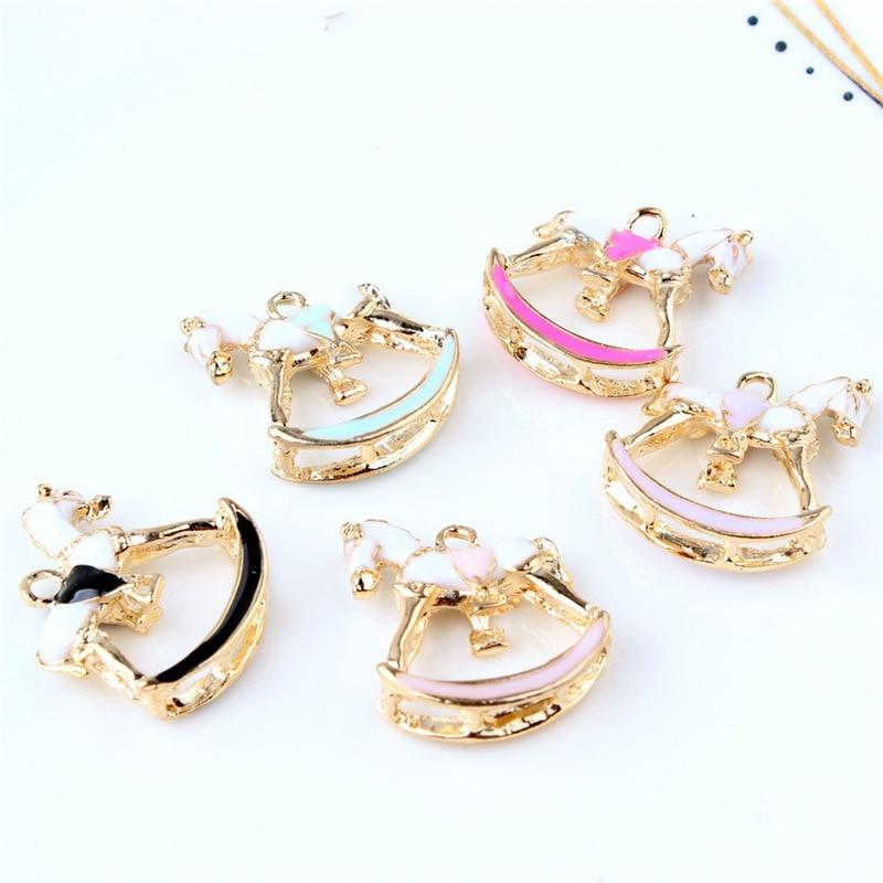 10PCS/Lot Gold Color Metal Oil Drop Horse Shape Charms Enamel Folating Pendant Carousel Charms For DIY Bracelet Necklace