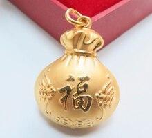 Pure 24k Yellow Gold Pendant Bless Money Coin Big Bag Pendant