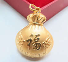 Pure 24k Yellow Gold Pendant Bless Money Coin Big Bag Pendant