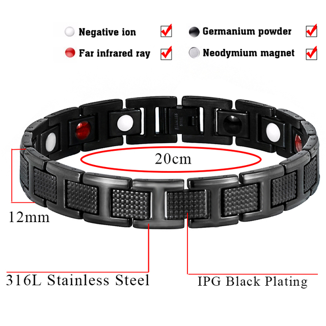 Healthy Stainless Steel Magnetic Bracelet Man Wristband