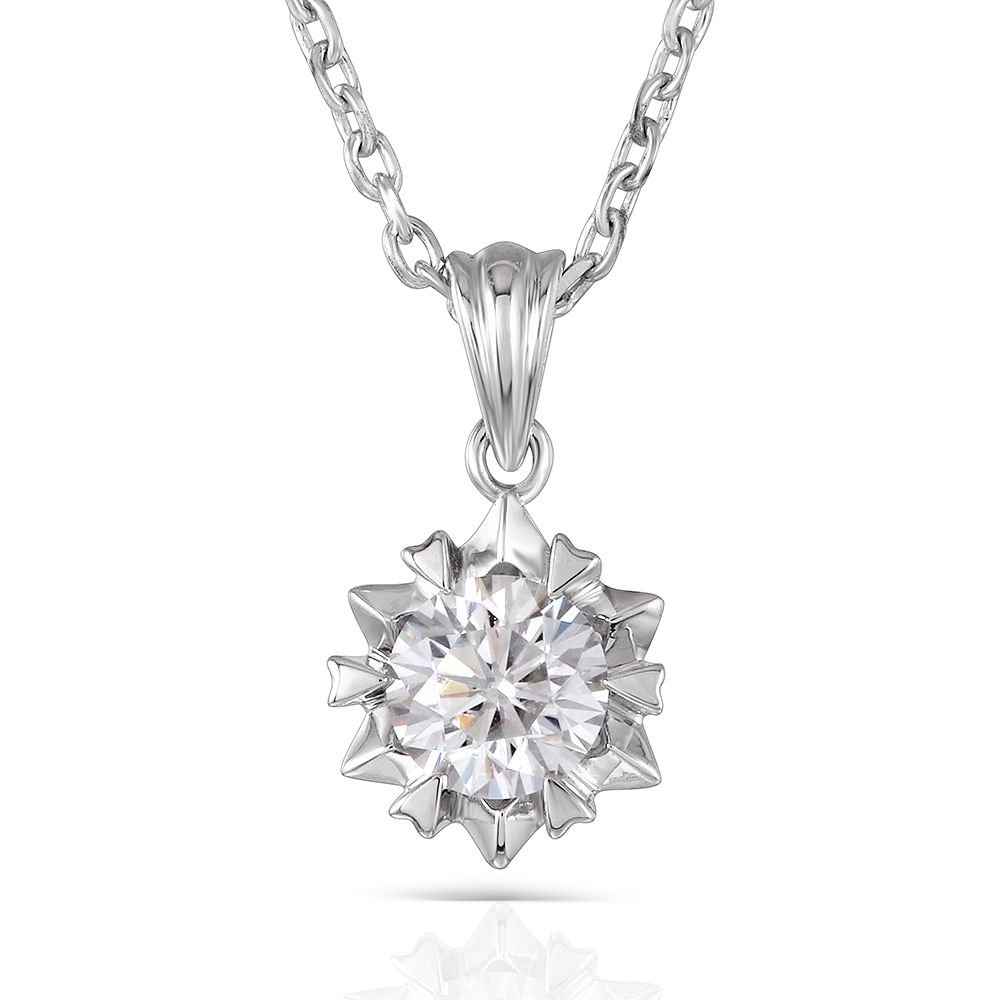 Silver Necklace 1ct Diameter 6.5mm H Color Lab Grown Moissanite Diamond Pendant Necklace Platinum Plated Silver for Women