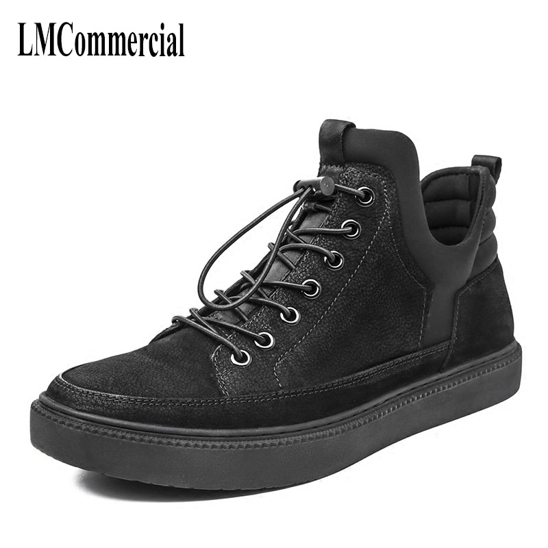 Black high shoes male Korean the tide fall back to the Martin shoes new autumn winter British retro cowhide  breathable sneaker men leather shoes comfortable breathable shoes doug tide set foot casual shoes new autumn winter british retro