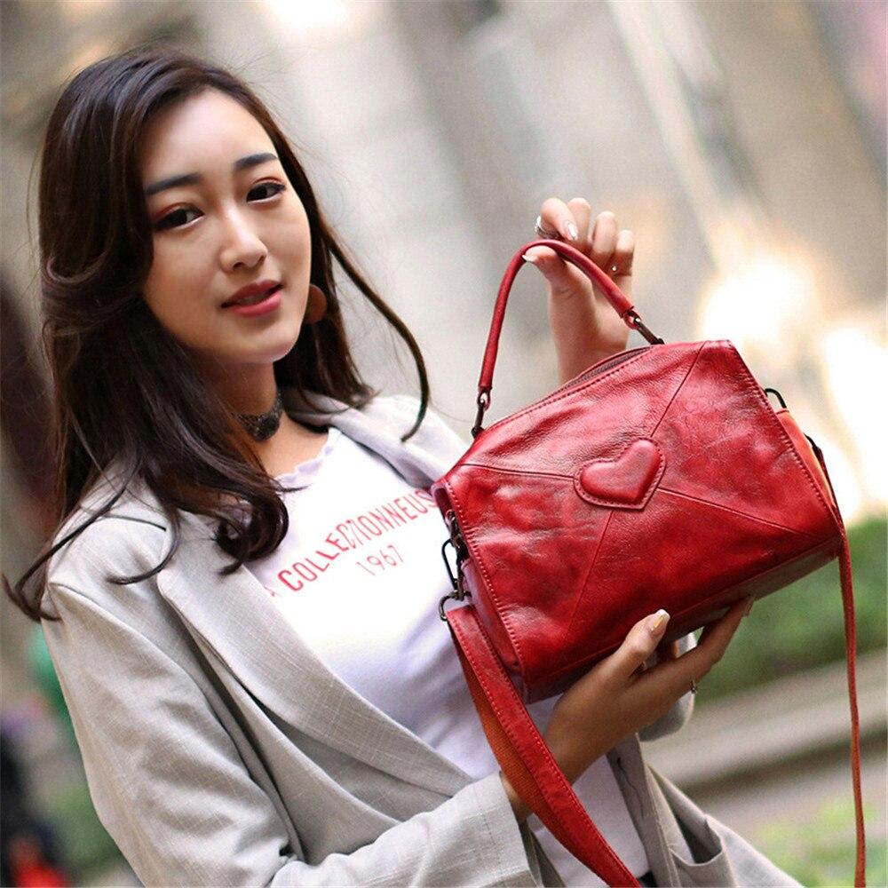 Main Style Véritable Arrivée Poignée Coeur red Bandoulière En De Zipper Red Cuir wine Brown Top À Mode Sac Vintage Conception Doux Nouvelle Femmes SLq4R35jcA