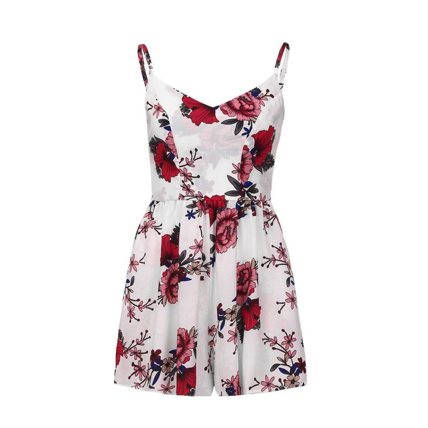 Feitong Summer 2018 Women Spaghetti Strap V-Neck Rompers Floral Print Sexy Camis Backless Sexy Overall Casual Beach Short Pants