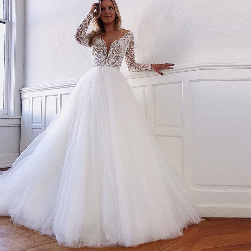 Hot Sale Wedding Dresses Sexy V neck Illusion Long Sleeves Backless With Button White Ivory Off The Shoulder Vestido De Noiva in Wedding Dresses from Weddings Events