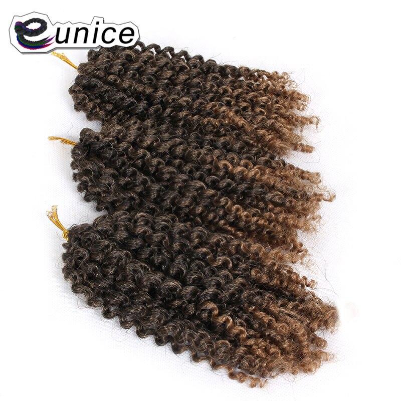 Eunice Hair 3strands/pack Mali Bob Crochet Braids Hair 8 Inch Bohemian Style Ombre 1B/#30 KINKY Curly Synthetic Braiding Hair